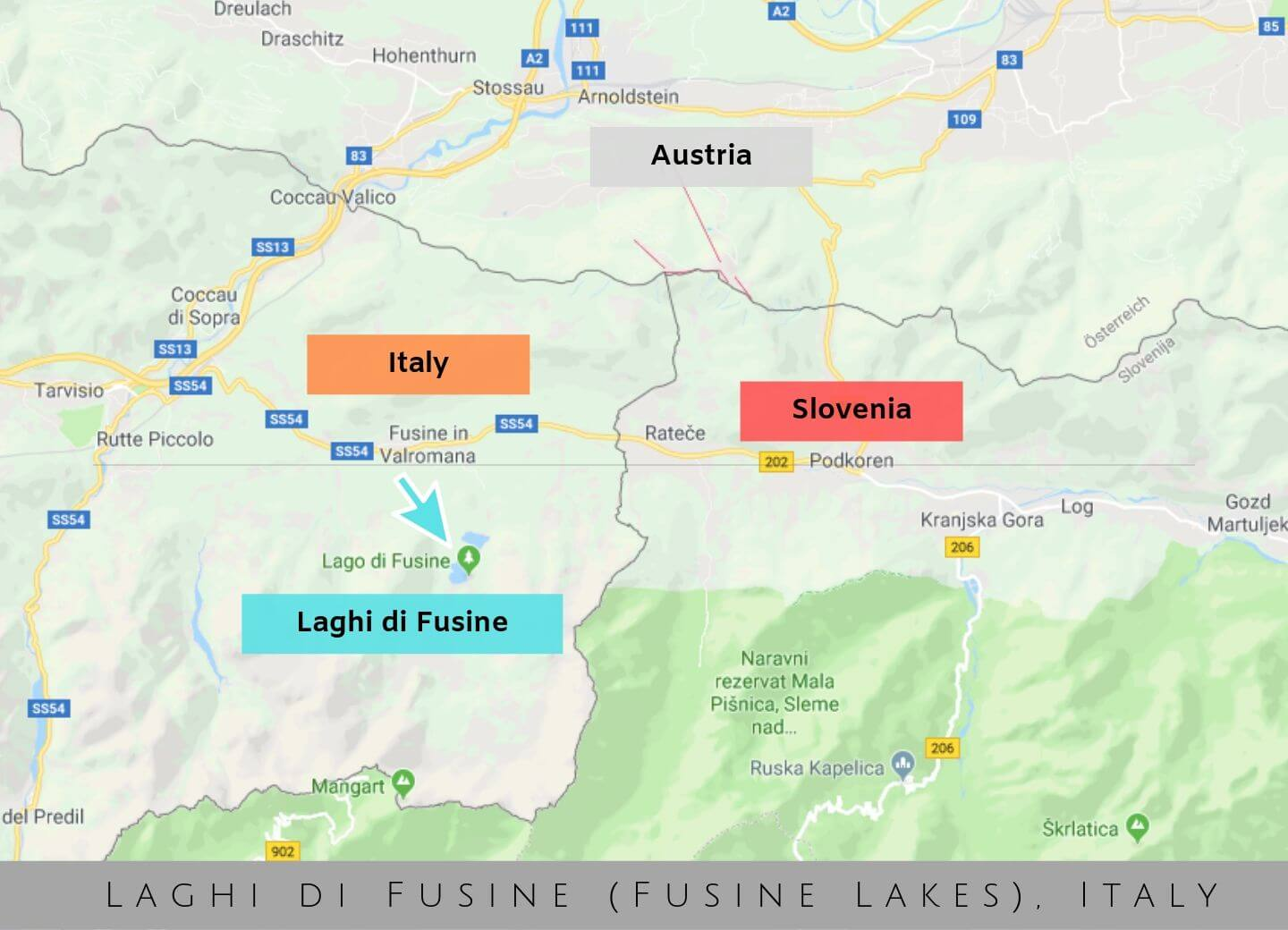 Where are Laghi di Fusine, Fusine lakes, Italy