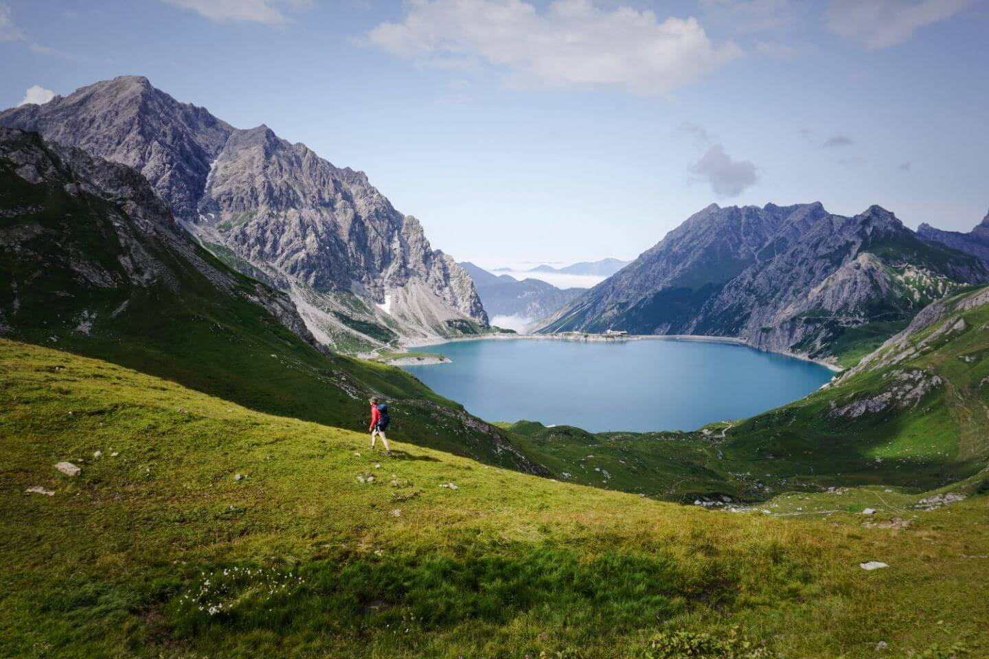 Hike to Gafalljoch Ridge, Swiss-Austrian Border, from Lünersee Lake, Austria